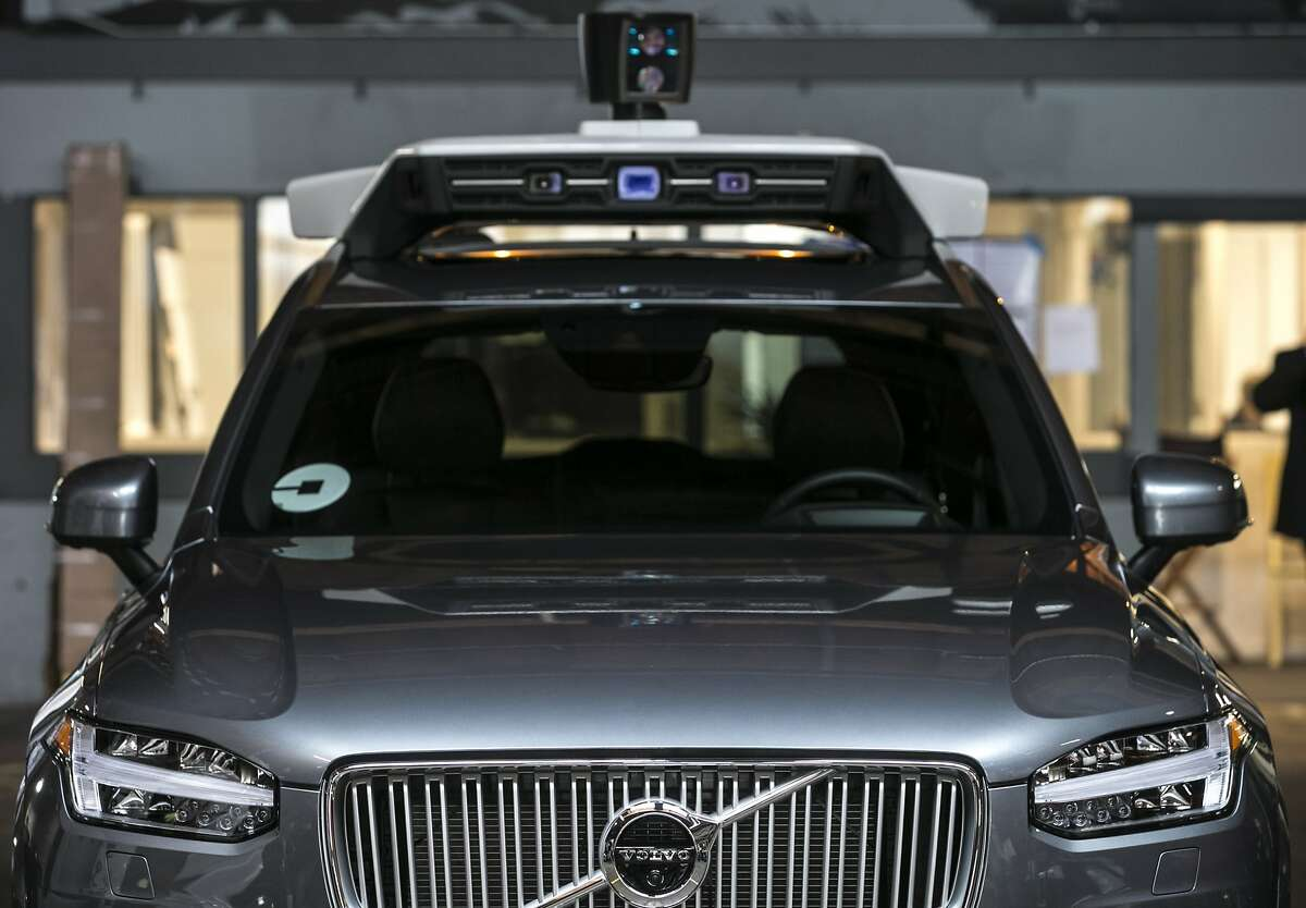 Uber demonstrates their self-driving Volvo XC90 SUV on Tuesday, Dec. 13, 2016 in San Francisco, Calif.