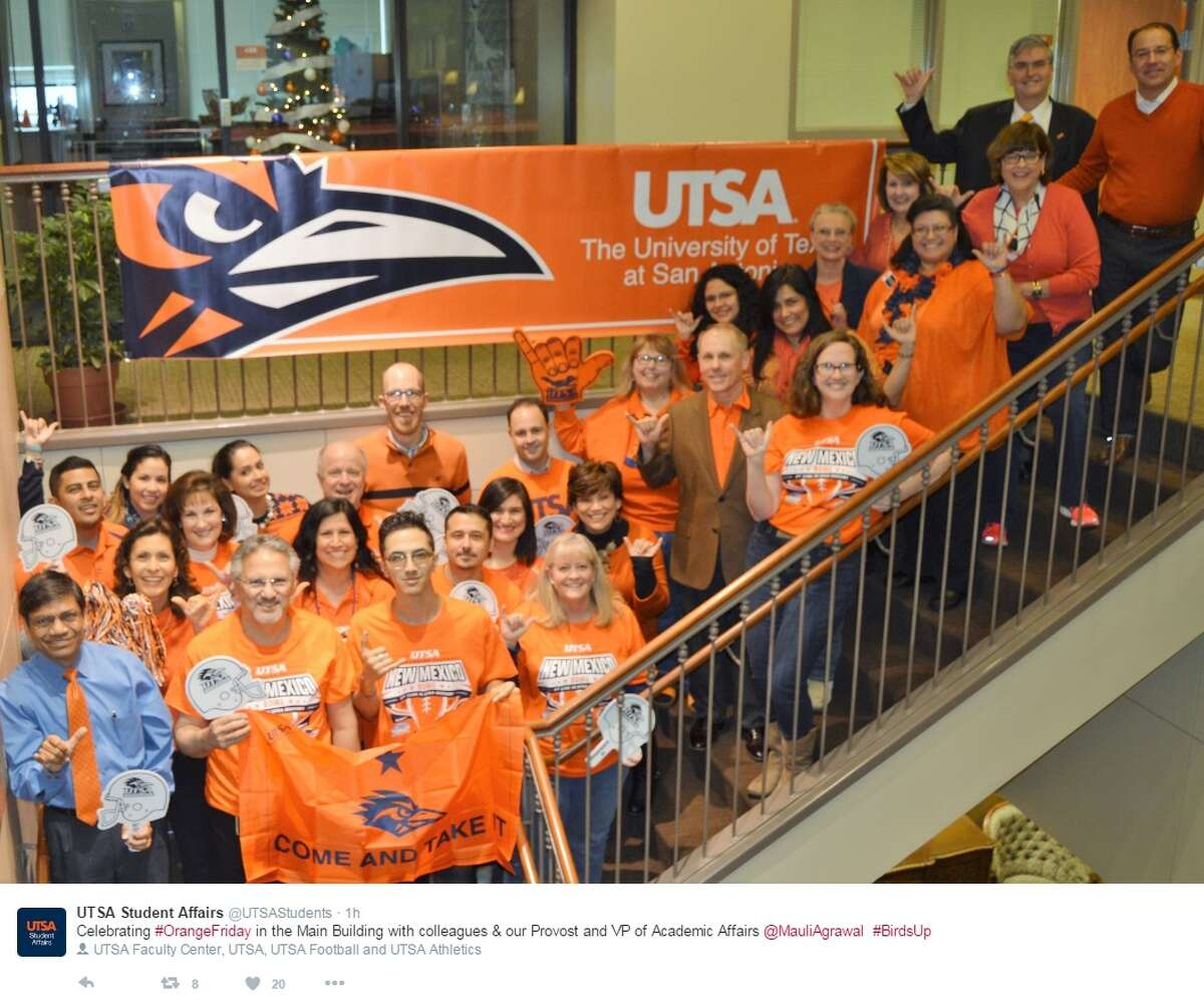 """""""Celebrating #OrangeFriday in the Main Building with colleagues & our Provost and VP of Academic Affairs @MauliAgrawal #BirdsUp,"""" @UTSAStudents."""