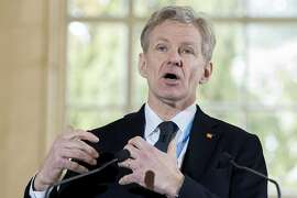 Jan Egeland, Senior Advisor to the United Nations Special Envoy for Syria, speaks about the International Syria support group's humanitarian access task force update at the European headquarters of the United Nations, in Geneva, Switzerland, Wednesday, March 9, 2016. (Martial Trezzini/Keystone via AP)
