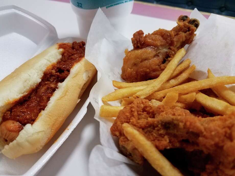 A Coney dog and chicken dinner from Mr. Hot Dog in Bay City.