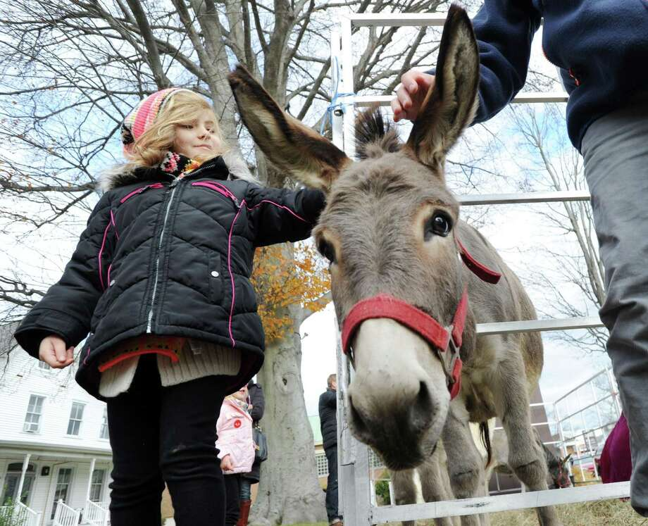 Xander Allen, 5, of Darien, pets a donkey at First United Methodist Church during the Greenwich Holiday Stroll Weekend event Dec. 3. Photo: Bob Luckey Jr. / Hearst Connecticut Media / Greenwich Time