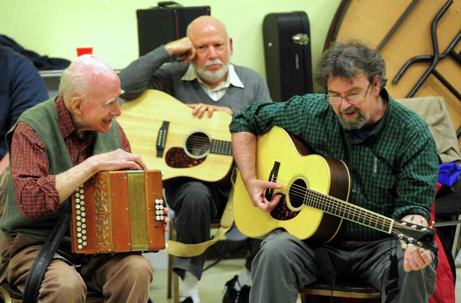 Traditional Irish music is performed during the monthly P.V. O'Donnell Branch of Comhaltas Ceoltori Eireann  (C.C.E.) session held at St. Gabriel's Parrish Hall in Milford, Conn. on Thursday Dec. 15, 2016. Special guest musicians this evening included world renowned accordionists John Whelan and Loretta Egan Murphy. The group meets on the 3rd Thursday of each month at 8 p.m. Admission is free, musicians, dancers, singers and guests are welcome. Refreshments are provided and BYOB. For more info call: 203-257-8737. Photo: Christian Abraham, Hearst Connecticut Media / Connecticut Post