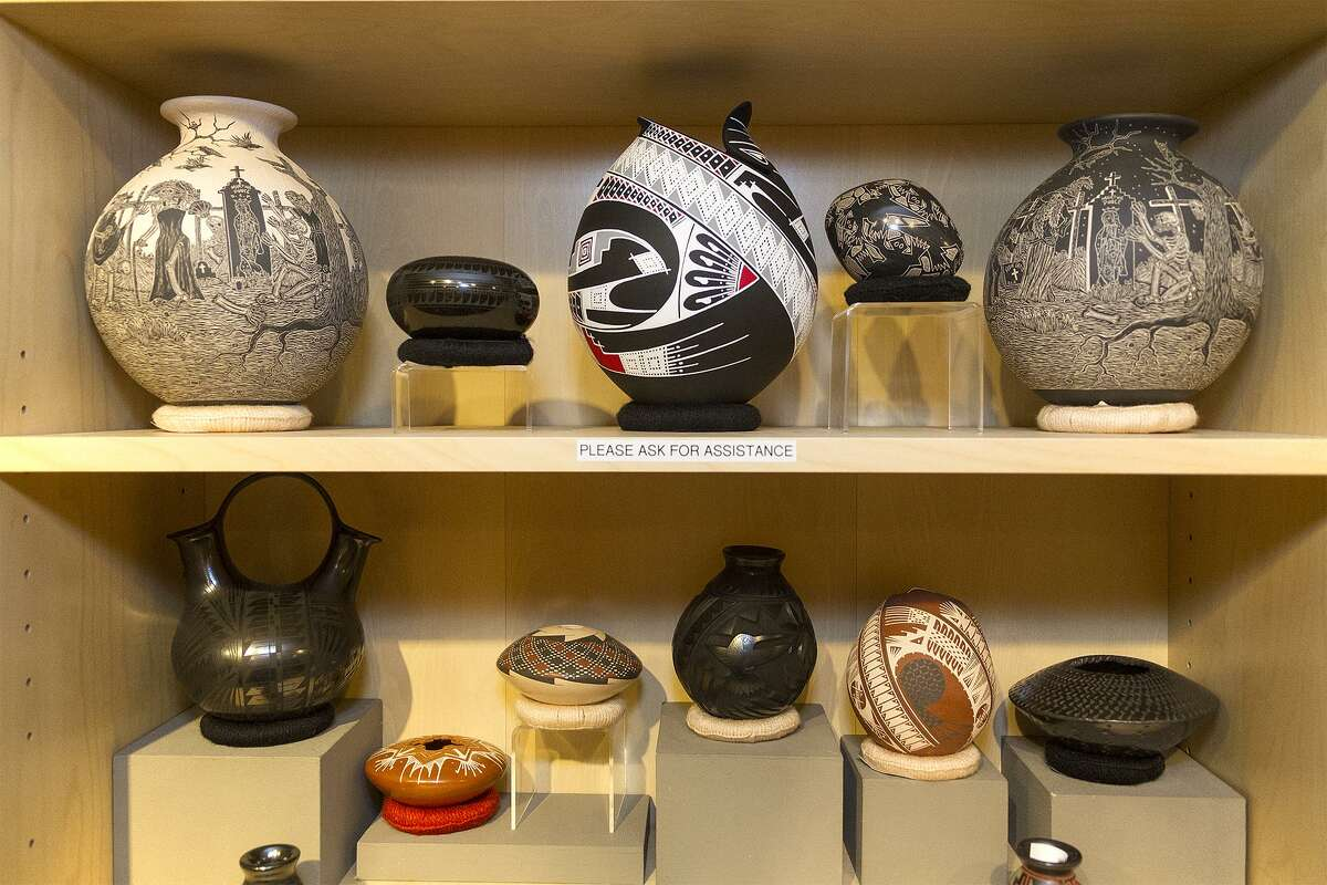 The shop at the San Antonio Museum of Art specializes in William Spratling Mexican silver jewelry, as well as Mata Ortiz pottery (pictured) that favors Southwestern and American Indian motifs, not to mention your more contemporary art-themed goodies.