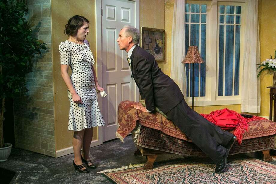 """Noel Coward's """"Private Lives"""" is on stage at TheatreWorks New Milford through Saturday, Jan. 7. Seen here are Anna Fagan, of Stamford, and J. Scott Williams, of Brookfield. Photo: Richard Pettibone / Contributed Photo"""