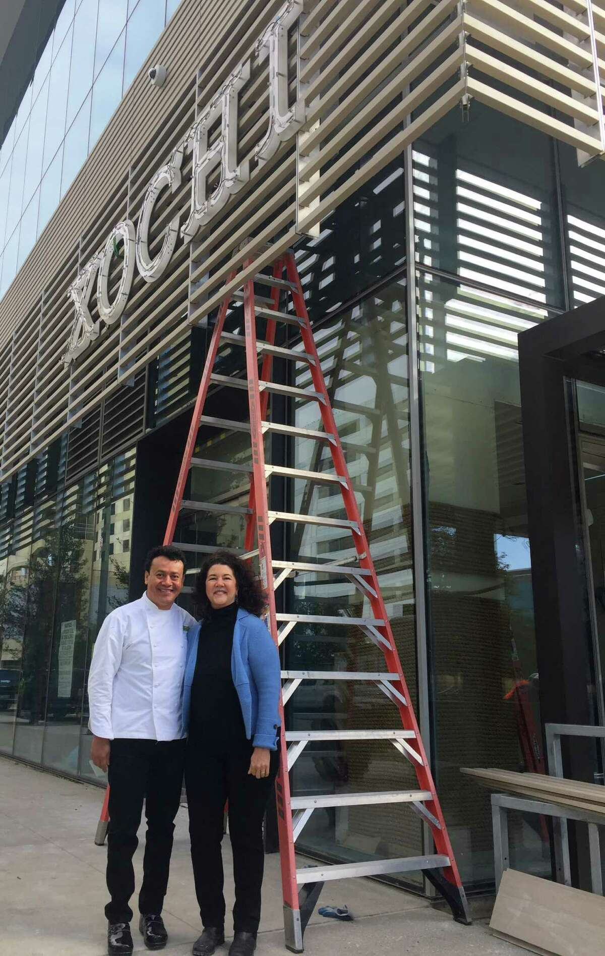 Chef Hugo Ortega, and Tracy Vaught, are co-owners of the H Town Restaurant Group. Vaught was listed among the semifinalists for the 2017 James Beard Award for Outstanding Restaurateur. Ortega is a semifinalist for Best Chef Southwest. They are shown here in front of their new Xochi restaurant in the Marriott Marquis Houston.