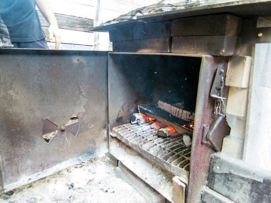 The firebox on the smoker at Tejas Chocolate Craftory in Tomball. Photo: J.C. Reid
