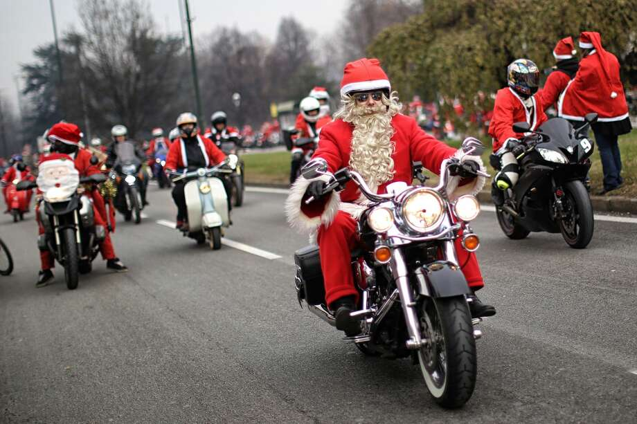 In Turin, Italy: The 'Papa Noel' bike rally. Photo: MARCO BERTORELLO/AFP/Getty Images