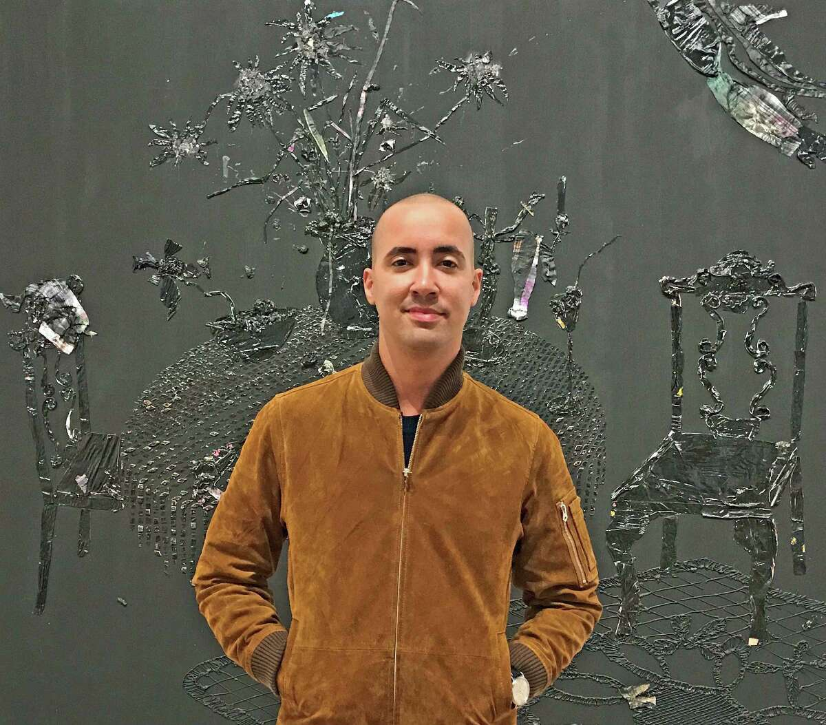 """Angel Otero's """"No Light on Full Moon"""" is on view in his survey show """"Everything and Nothing"""" at the Contemporary Arts Museum Houston. Otero creates layers of entire paintings on Plexiglass and scrapes them off to be reapplied on canvas."""