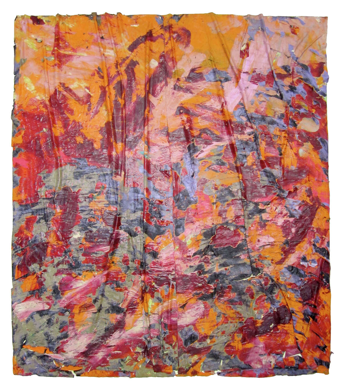 """""""Everything and Nothing"""" is the monumental title work in Angel Otero's solo show at the Contemporary Arts Museum Houston. The 2011 work isoil paint and oil-paint skins collaged on canvas."""