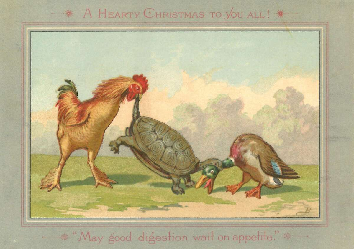 """Some cards may have seemed funnier - or made more sense - to our great-grandparents than they do to us. The text reads """"A Hearty Christmas to you all! / 'May good digestion wait on appetite.'"""""""