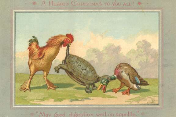 Louis Prang's 19th century chromolithograph Christmas cards are on view at the Book Club of California through Jan. 9.