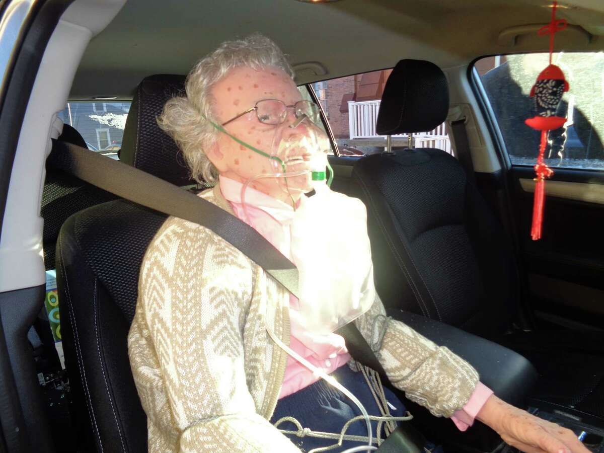 As much as this may look like a woman in car, it's not. Hudson police said a caller believed it was, called them and they broke the window to be sure on Friday morning. (Hudson police)