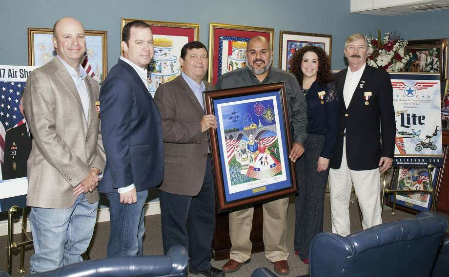 Jay Puig (WBCA 1st Vice President), Matt Gibson (Board of Director and Air Show Director), Eddie Villarreal (WBCA President), Cesar Garay (Representing Miller Lite), Natalie Hernandez (Representing Falcon International Bank) and Randy Blair (WBCA 2nd Vice President) are pictured at Thursday's announcement of the air show marshal. Photo: Courtesy Photo