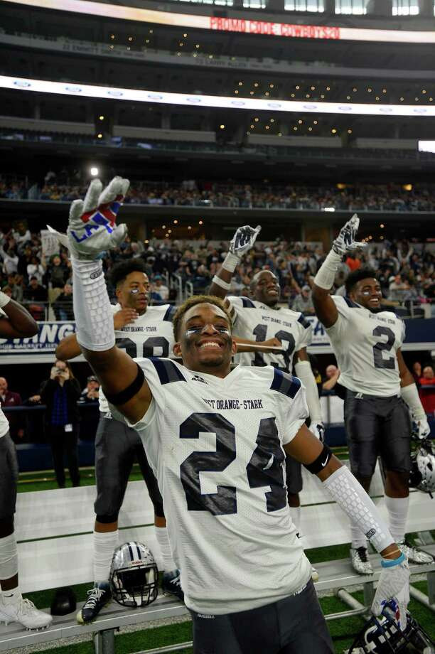 West Orange-Stark's Jay'len Matthews celebrates in the final seconds when they were beating Sweetwater in the Class 4A-Division II state final at AT&T Stadium in Arlington on Friday. Photo: Ryan Pelham / ©2016 The Beaumont Enterprise/Ryan Pelham