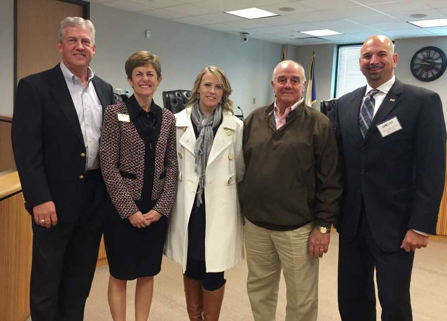 Montgomery County Judge Craig Doyal; LMC Chairman of the Board Julie Ambler - Class of 2010; LMC Executive Director Sarah Rhea – Class of 2007, Commissioner Mike Meador – Class of 1993, and Session Director Steve Williams – Class of 2006. Photo: Submitted