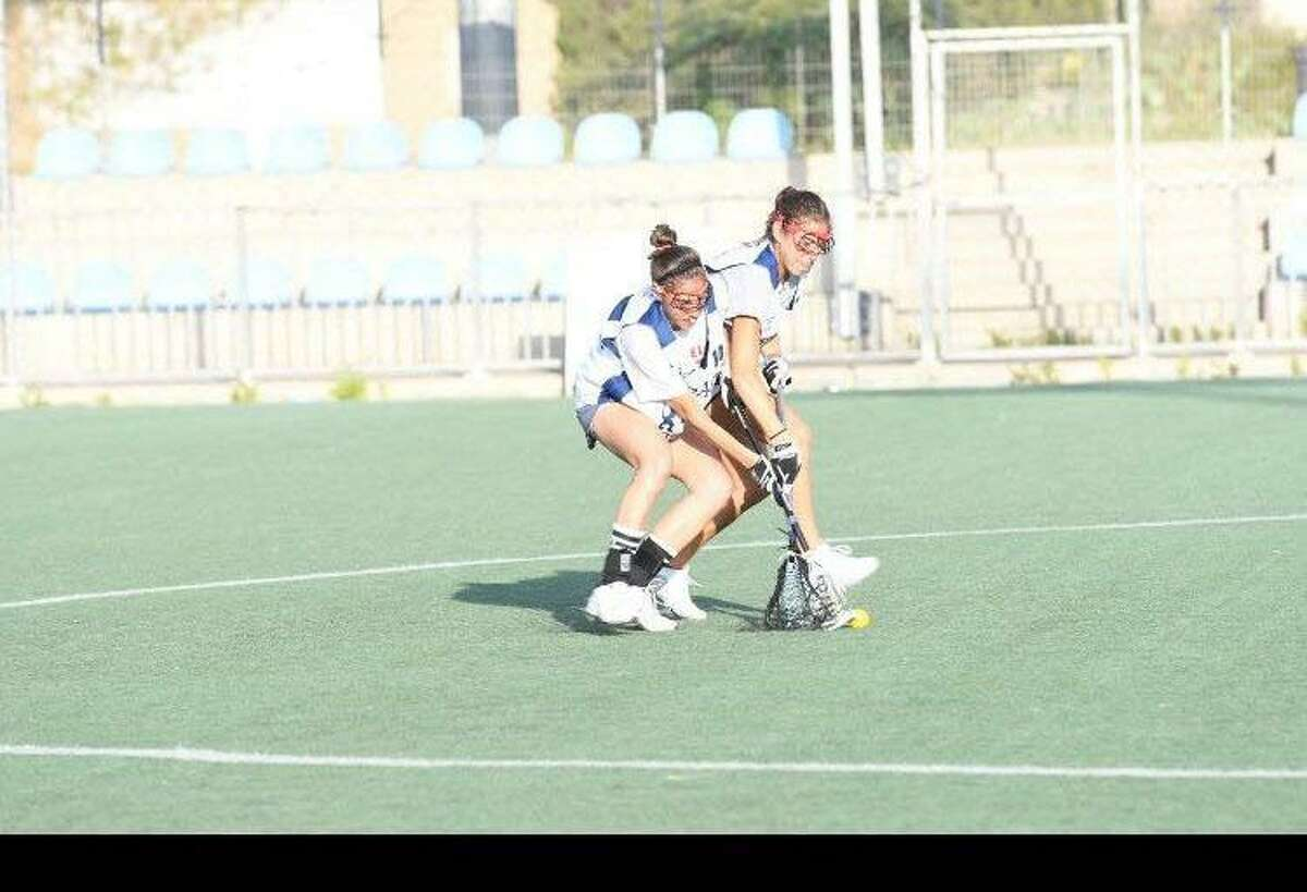 Ali and Jessi Steinberg during tryouts for the Israeli women's lacrosse team.