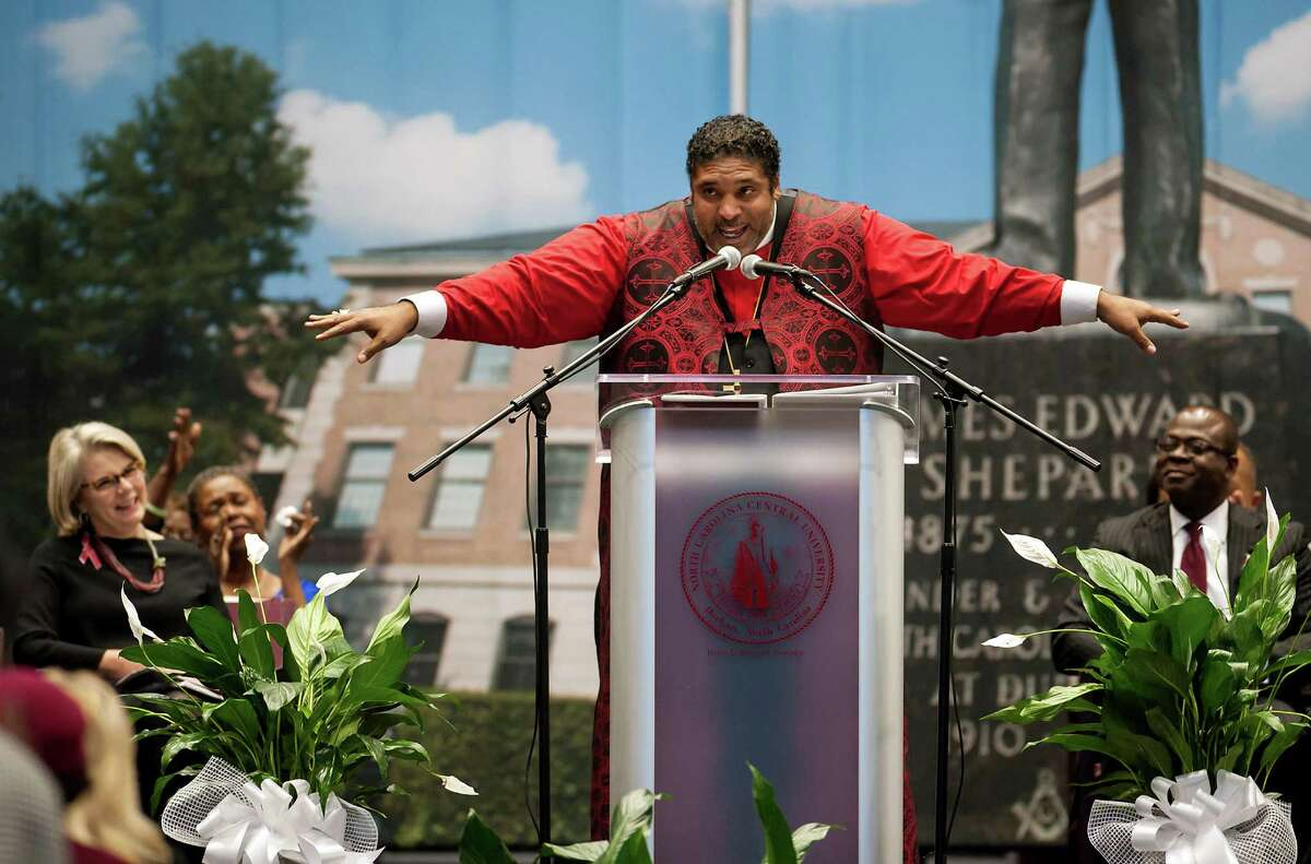 """Rev. William Barber, a charismatic pastor and activist, was a featured speaker at the Democratic National Convention. Shortly after the election, Barber told his congregation, """"The role of the church is to engage in the dangerous ministry of telling the truth."""""""