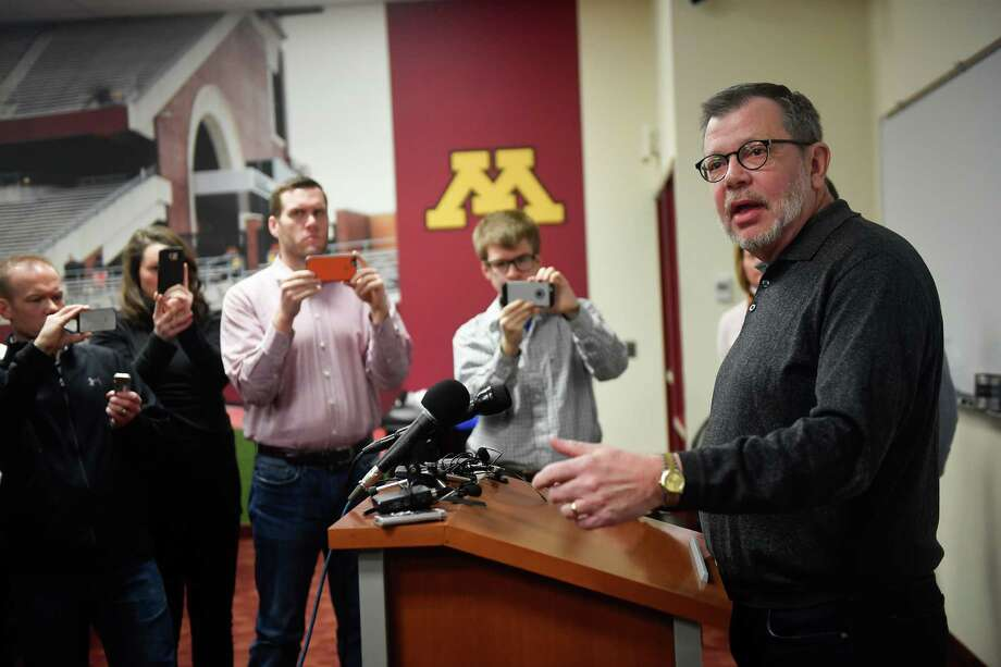 University of Minnesota President Eric Kaler speaks to members of the media Saturday after players announced the end of their boycott of the Holiday Bowl in Minneapolis. The team will play in the Holiday Bowl, reversing a threat to boycott the game because of the suspension of 10 players accused of sexual assault. Photo: Aaron Lavinsky, Associated Press / STAR_TRIBUNE