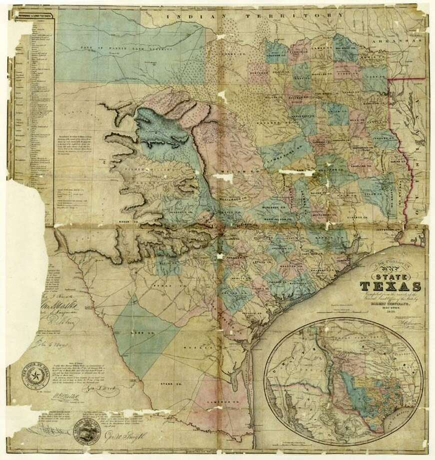 This map by Jacob Raphael De Cordova of Texas in 1849 is the most popular historic map sold by the Texas General Land Office. It depicts Texas shortly after U.S. statehood began in 1845. Photo: Courtesy Texas General Land Office