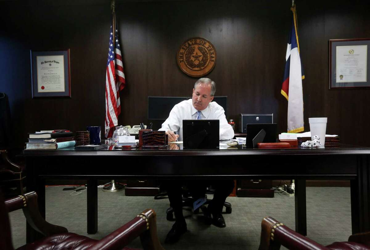 Texas Attorney General Ken Paxton at work in his Austin office.