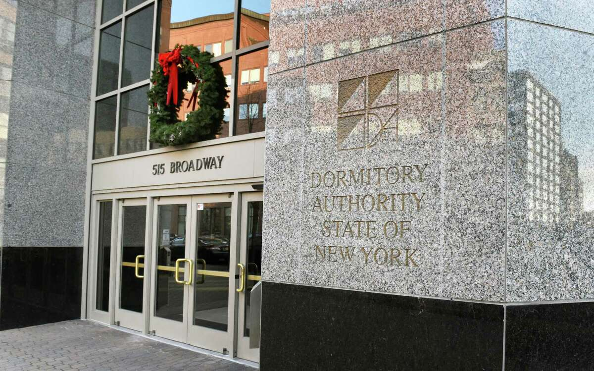 Entrance to the Dormitory Authority of the State of New York building on Broadway Wednesday Dec. 14, 2016 in Albany, NY. (John Carl D'Annibale / Times Union)