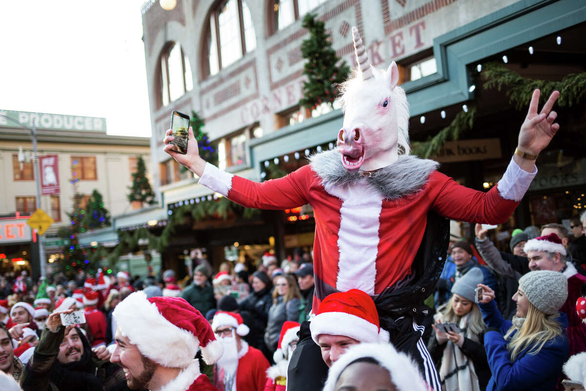 Santas take over Pike Place Market.