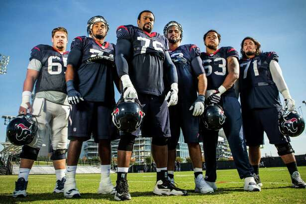 From left, center Greg Mancz, tackles Chris Clark and Duane Brown, guard Oday Aboushi, tackle Kendall Lamm and guard Xavier Su'a-Filo loom large.