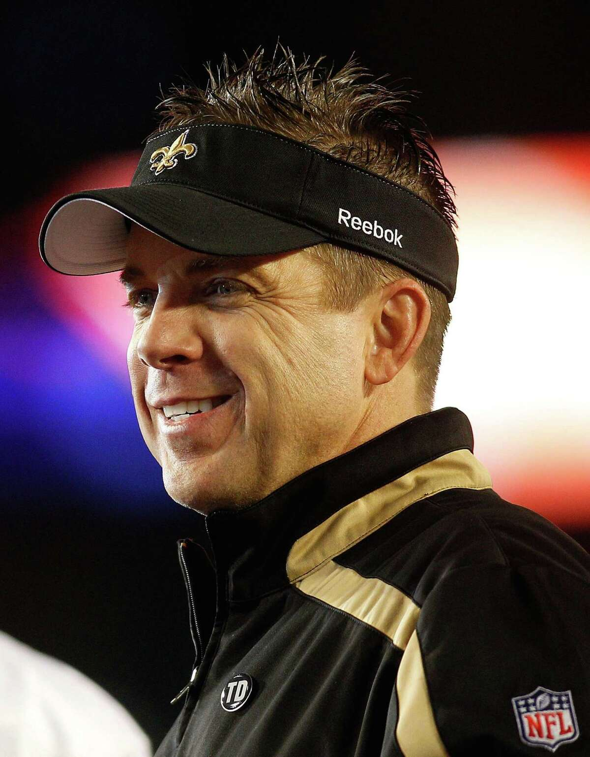 MIAMI GARDENS, FL - FEBRUARY 07: Head coach Sean Payton of the New Orleans Saints smiles after his team defeated the Indianapolis Colts during Super Bowl XLIV on February 7, 2010 at Sun Life Stadium in Miami Gardens, Florida. (Photo by Chris Graythen/Getty Images)
