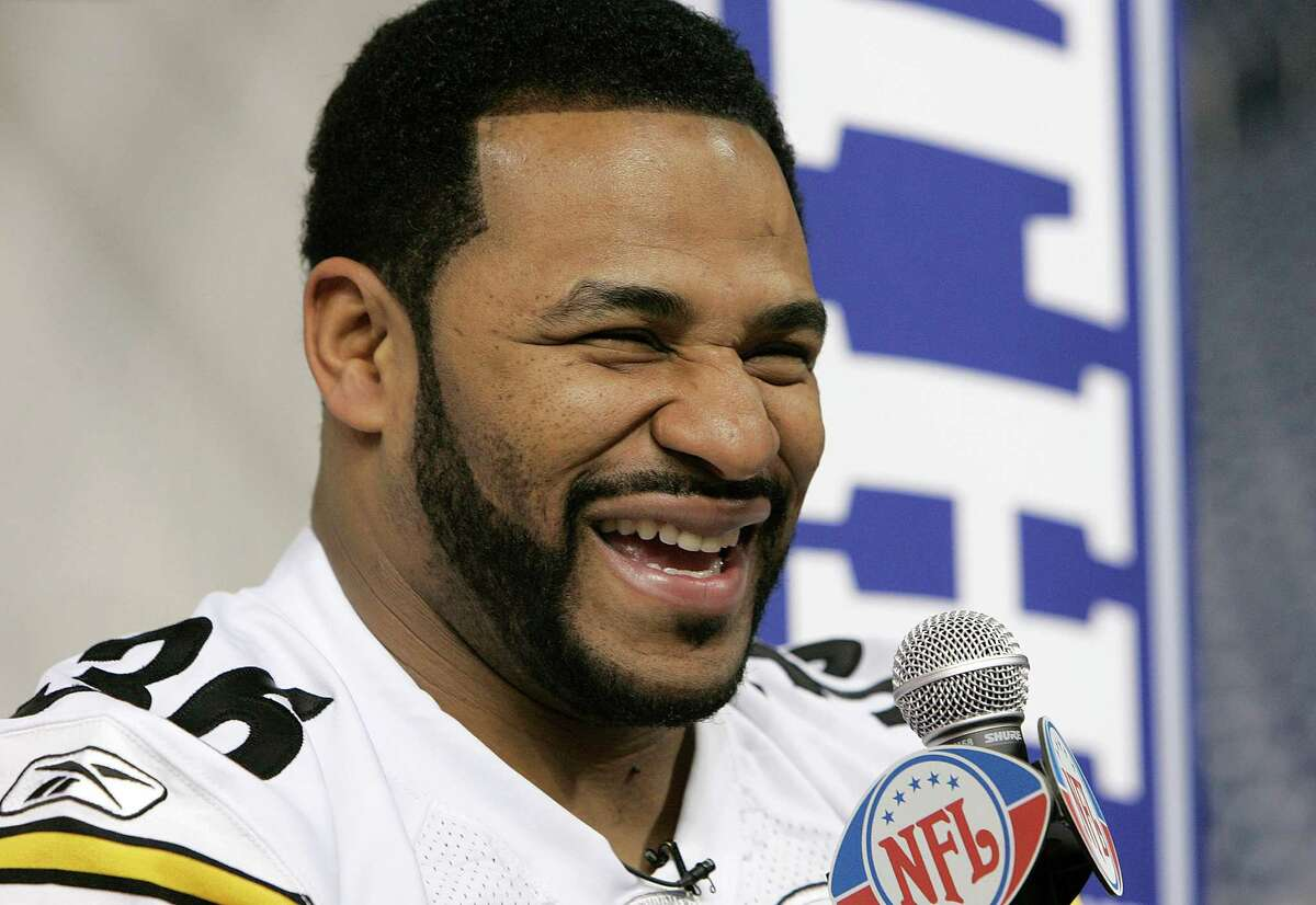 Jerome Bettis during Steelers media day for Super Bowl XL at Ford Field in Detroit, Michigan on January 31, 2006. (Photo by G. N. Lowrance/NFLPhotoLibrary)