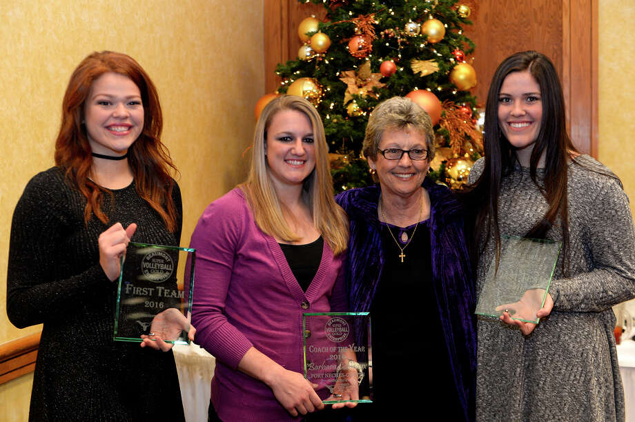 From left: Port Neches-Groves volleyball player Cheyanne Orozco, assistant coach Brittany Fruge, head coach Barbara Comeaux and player Hannah Jones at the Beaumont Enterprise Super Gold 2016 Fall Sports Banquet presented by Mid County Chrysler Dodge Jeep Ram.  Photo taken Monday 12/12/16 Ryan Pelham/The Enterprise Photo: Ryan Pelham / ©2016 The Beaumont Enterprise/Ryan Pelham