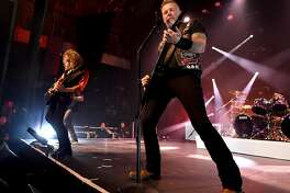 LOS ANGELES, CA - DECEMBER 15:  Musicians Kirk Hammett (L) and James Hetfield of Metallica perform at the Fonda Theatre on December 15, 2016 in Los Angeles, California.  (Photo by Kevin Winter/Getty Images)