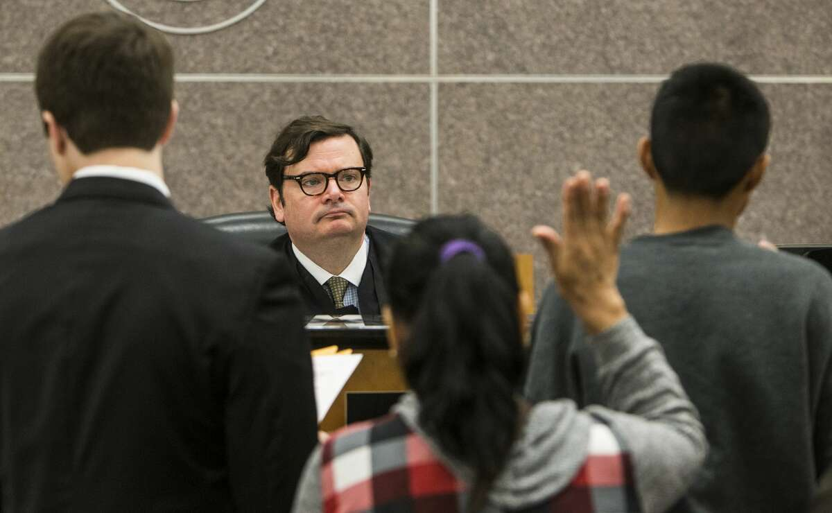 Judge Michael Schneider speaks to a juvenile appearing before him in the 315th Juvenile Court on Tuesday, Nov. 29, 2016, in Houston. ( Brett Coomer / Houston Chronicle )