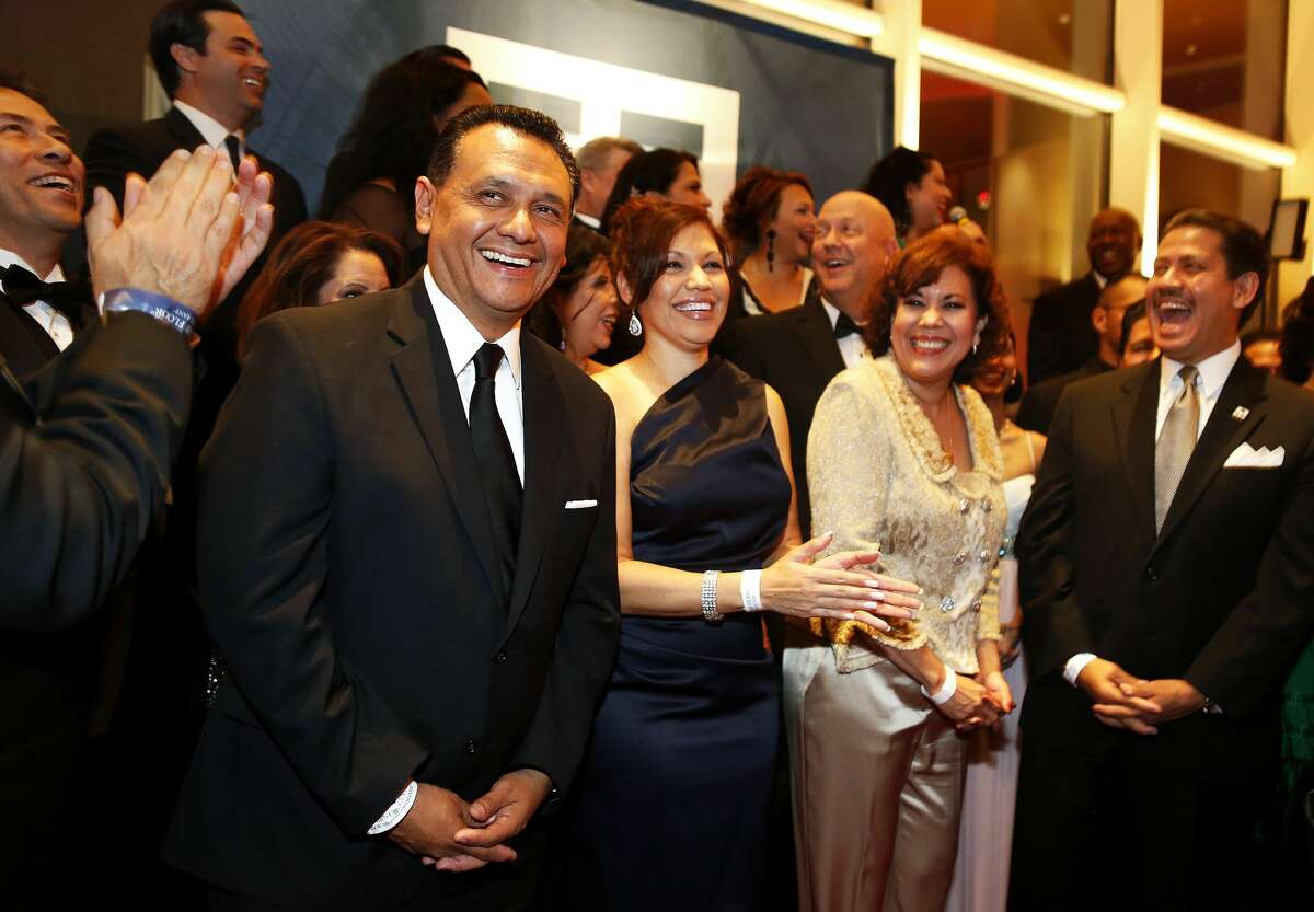 Sheriff-elect Ed Gonzalez stands among honorees during a reception at the Houston Hispanic Chamber of Commerce Annual Awards gala on Saturday, Nov. 12, 2016. (Annie Mulligan / Freelance)