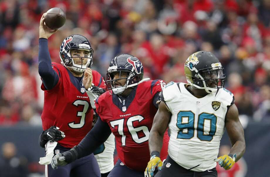JOHN McCLAIN'S GRADES ON TEXANS-JAGUARSQuarterbackBrock Osweiler would get an F for throwing two interceptions, but Tom Savage would get an A for throwing for 260 yards and engineering five scoring drives, including the winning touchdown drive with 2:51 remaining.Grade: B Photo: Tim Warner/Getty Images