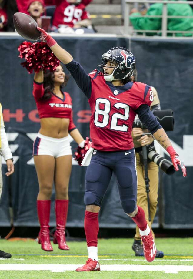 Houston Texans wide receiver Wendall Williams reacts after making a first down reception against the Jacksonville Jaguars during the second quarter of an NFL football game at NRG Stadium on Sunday, Dec. 18, 2016, in Houston. ( Brett Coomer / Houston Chronicle ) Photo: Brett Coomer/Houston Chronicle