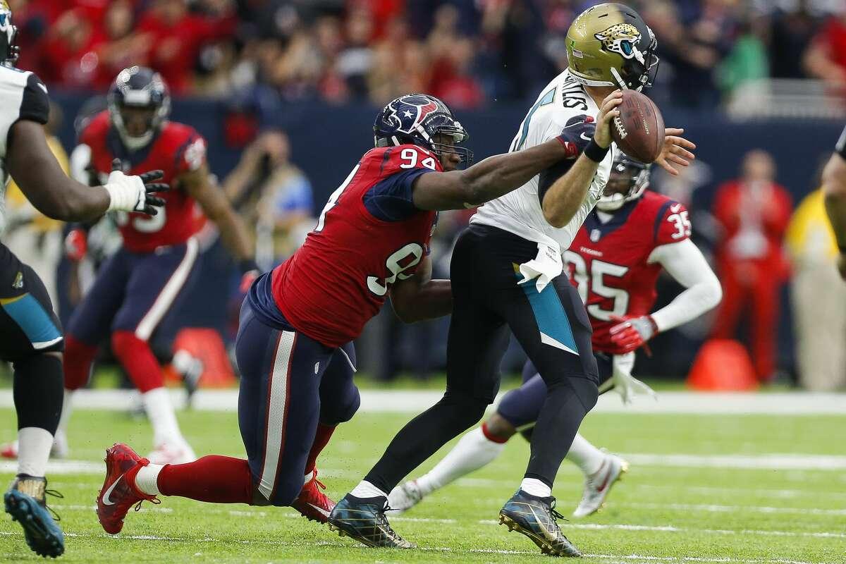 Houston Texans defensive end Antonio Smith (94) sacks Jacksonville Jaguars quarterback Blake Bortles (5) on third down during the second half of the Houston Texans 21-20 win against the Jacksonville Jaguars at NRG Stadium Sunday, Dec. 18, 2016 in Houston. ( Michael Ciaglo / Houston Chronicle )