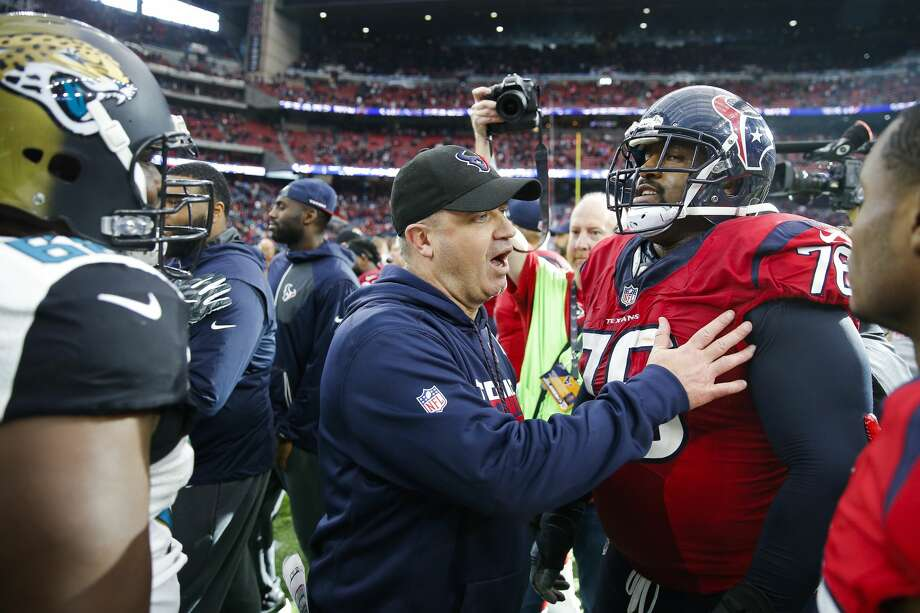 Stalwart offensive tackle Duane Brown, right, has been a no-show during the first couple weeks of Texans camp. Being without their most indispensable offensive lineman isn't a recipe for success. Photo: Michael Ciaglo/Houston Chronicle