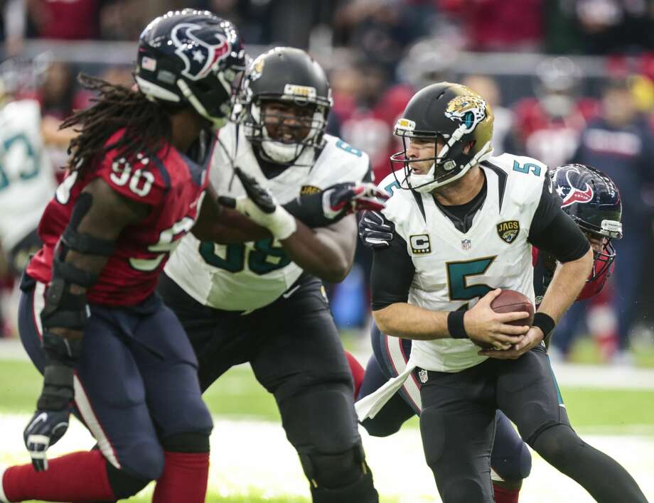 Jacksonville JaguarsWhen: Sept. 10 (Sunday), noonWhere: NRG StadiumPredictionTom Savage gets the Texans off to a good start with a victory in this AFC South game. The defense dominates quarterback Blake Bortles but has trouble with rookie running back Leonard Fournette.Prediction: Texans, 24-13Record: 1-0 Photo: Brett Coomer/Houston Chronicle