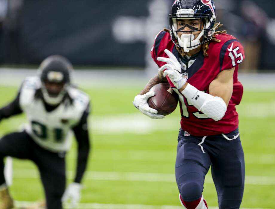 Houston Texans wide receiver Will Fuller (15) runs upfield after making a catch against Jacksonville Jaguars cornerback Davon House (31) during the third quarter of an NFL football game at NRG Stadium on Sunday, Dec. 18, 2016, in Houston. ( Brett Coomer / Houston Chronicle ) Photo: Brett Coomer/Houston Chronicle