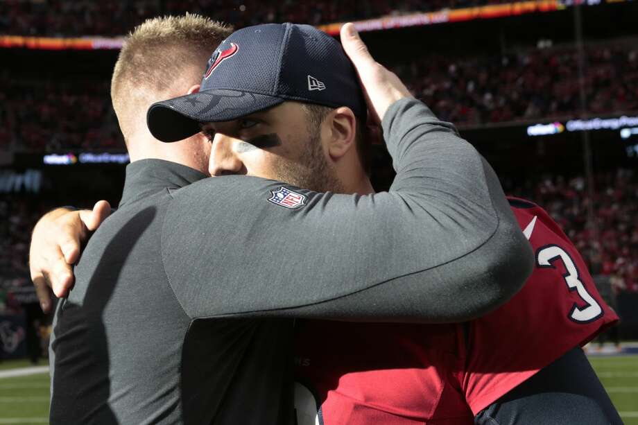 Houston Texans defensive end J.J. Watt (99) embraces  quarterback Tom Savage (3) after Savage came on in relief of starter Brock Osweiler to beat the Jacksonville Jaguars 21-20 at NRG Stadium on Sunday, Dec. 18, 2016, in Houston. ( Brett Coomer / Houston Chronicle ) Photo: Brett Coomer/Houston Chronicle