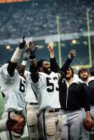 NEW ORLEANS, LA - JANUARY 25:  Rod Martin #53 of the Oakland Raiders celebrates defeating the Philadelphia Eagles in Super Bowl XV at the Louisiana Superdome January 25, 1981 in New Orleans, Louisiana. The Raiders won the Super Bowl 27-10. (Photo by Focus on Sport/Getty Images)