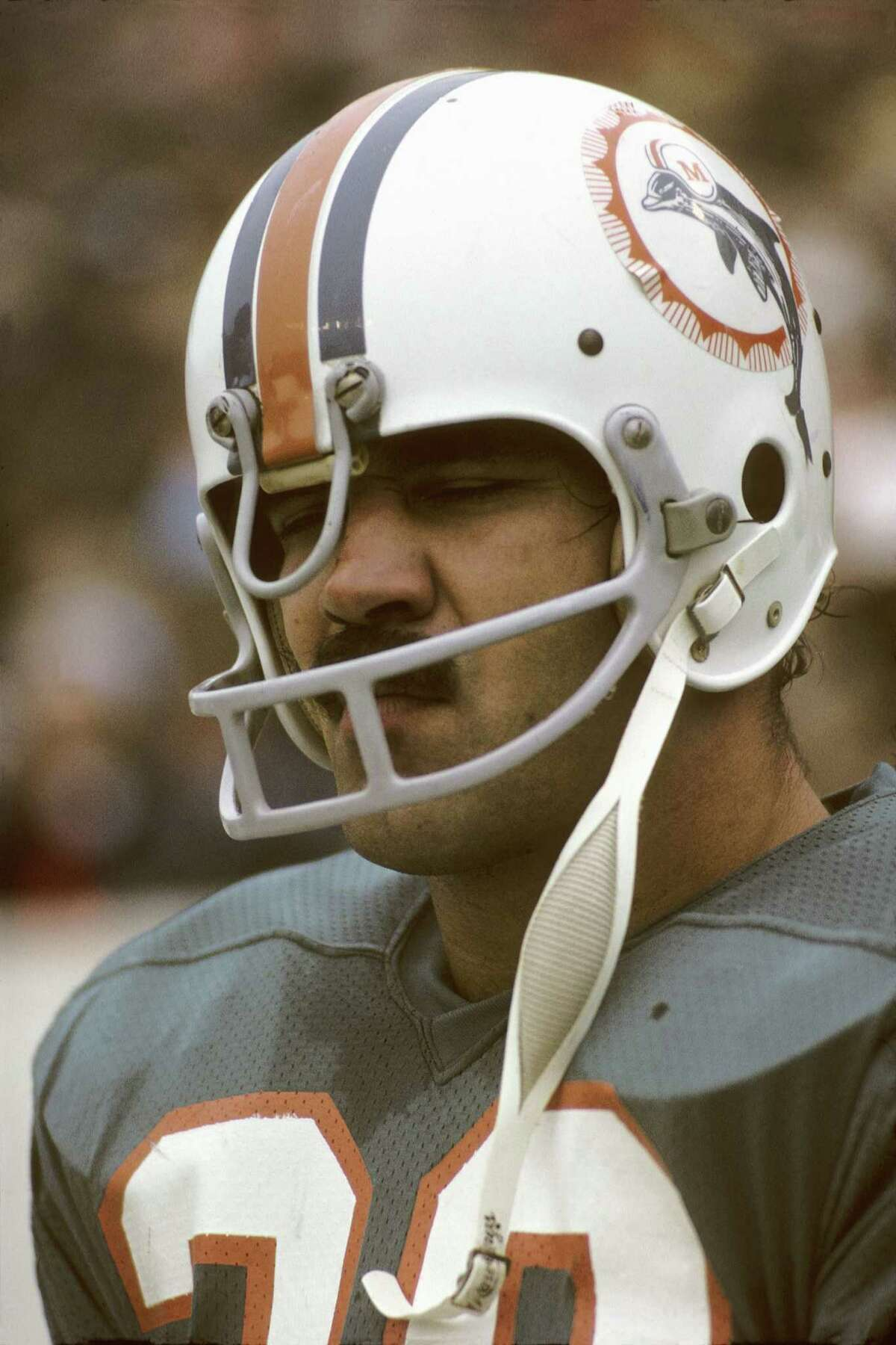 Larry Csonka carried the load for the Dolphins at an overcast Rice Stadium.