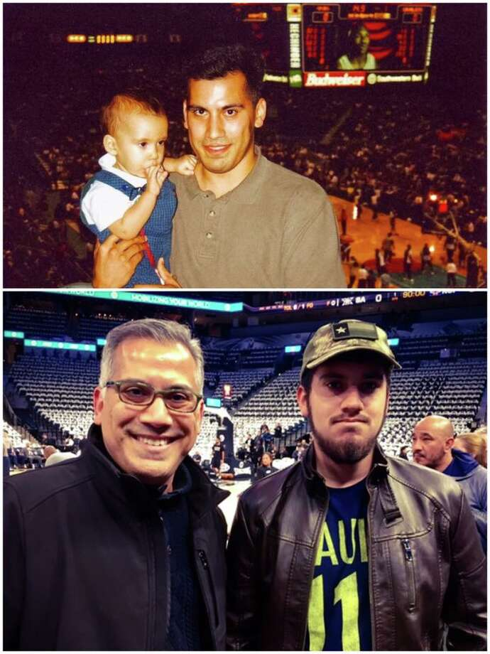 David Martinez and his son Quincy attended Tim Duncan's first home game with the Spurs 19 years ago at the Alamodome. On Sunday he and his son were on hand at the AT&T Center to watch Duncan's jersey go to the rafters during a special retirement ceremony. Photo: David Martinez, Courtesy
