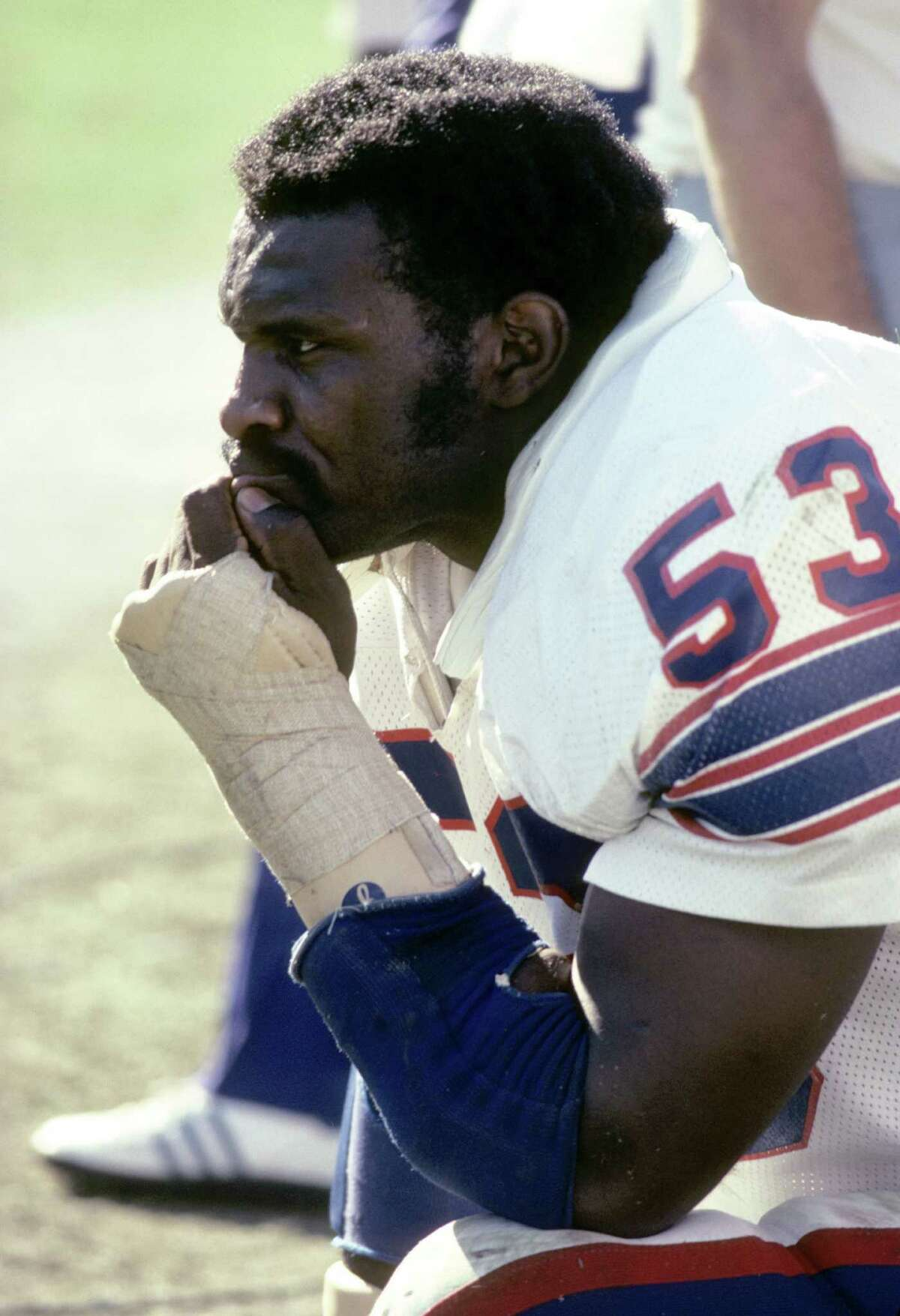 New York Giants linbebacker Harry Carson (53), elected to the NFL Hall of Fame Class of 2006, during a game in October, 1979. (Photo by Jim Campbell/Getty Images)
