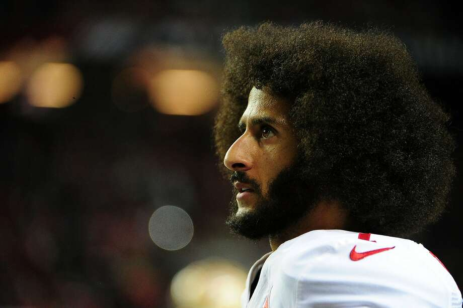 Colin Kaepernick #7 of the San Francisco 49ers looks on from the sidelines during the second half against the Atlanta Falcons at the Georgia Dome on December 18, 2016 in Atlanta, Georgia. Kaepernick gave a speech at the annual Alcatraz Sunrise Ceremony on Thursday, Nov. 23, 2017. Photo: Scott Cunningham, Getty Images