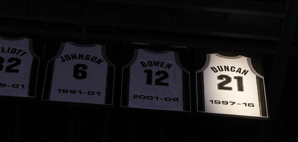 SAN ANTONIO,TX - DECEMBER 18: The jersey number of San Antonio Spurs' Tim Duncan is retired at AT&T Center on December 18, 2016 in San Antonio, Texas. NOTE TO USER: User expressly acknowledges and agrees that , by downloading and or using this photograph, User is consenting to the terms and conditions of the Getty Images License Agreement. (Photo by Ronald Cortes/Getty Images)