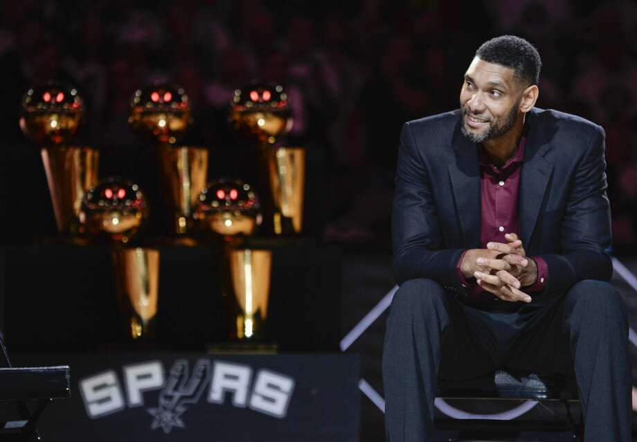 San Antonio Spurs' Tim Duncan listens while special guests speak about him during his jersey retirement ceremony, Sunday, Dec. 18, 2016, in San Antonio. (AP Photo/Darren Abate) Photo: Darren Abate/Associated Press