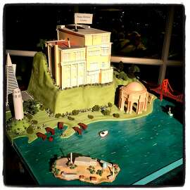 The Gold Coast manse of composer Gordon Getty is rendered in pastry to celebrate his 83rd birthday. Dec. 2016.