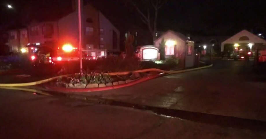 Fire from a chimney damaged apartments about 11:45 p.m. Sunday, 18, 2016, at 9988 Windmill Lakes Boulevard in southeast Houston (Metro Video)