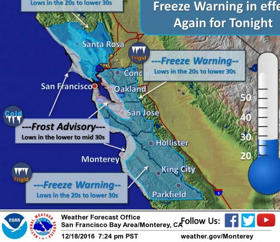 The National Weather Service issued a freeze warning for much of the Bay Area on Monday morning. Photo: National Weather Service / /